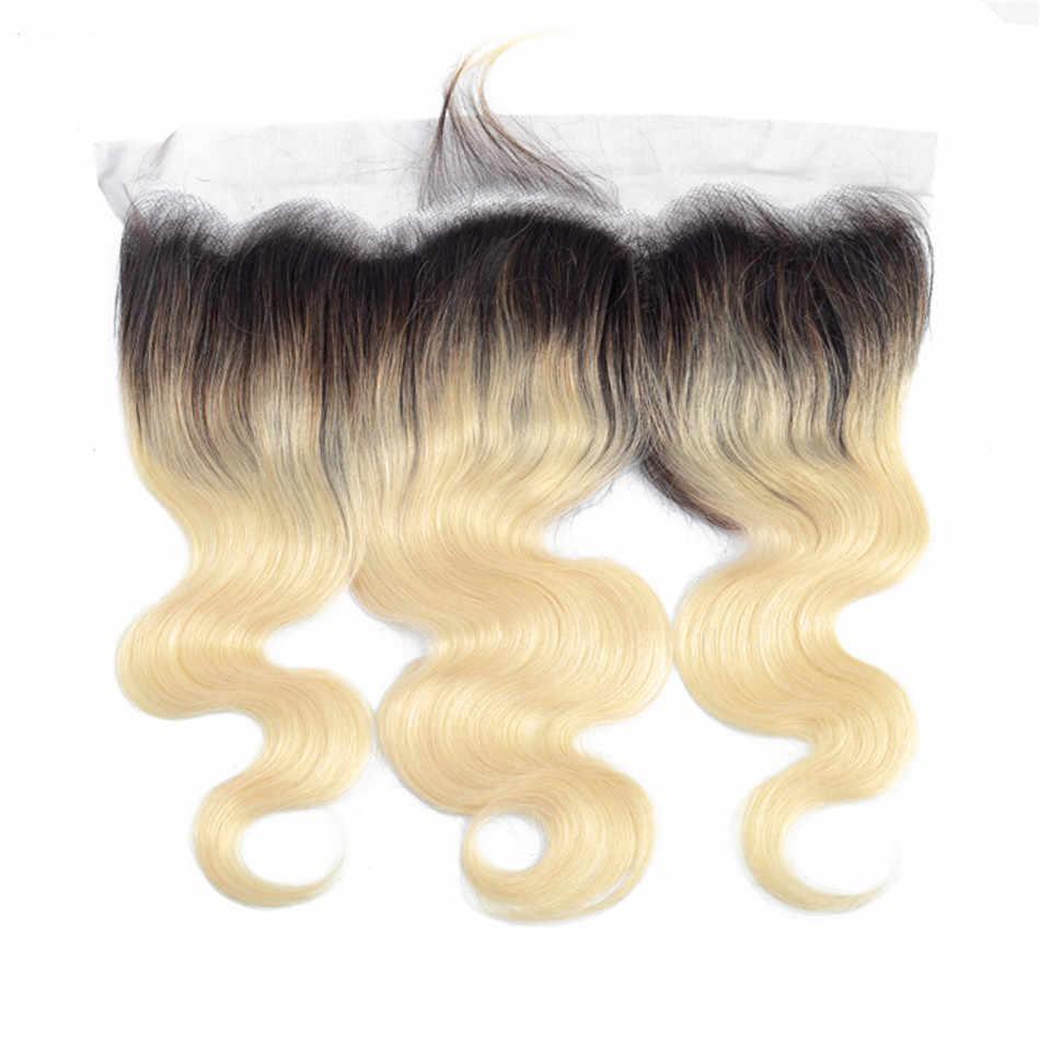 1B/613 Ombre blond wiązki z Frontal brazylijski Remy włosy ciało fala 3 zestawy z Frontal rosyjski doczepy z włosów blond
