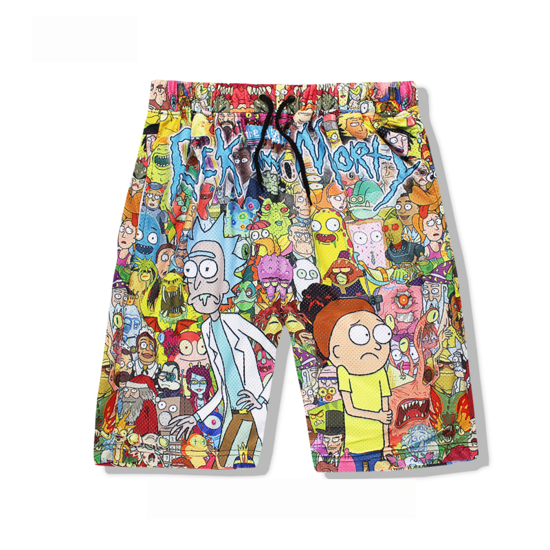 Rick And Morty Men's Summer Casual Shorts Cartoon 3D Print Loose Beach Shorts