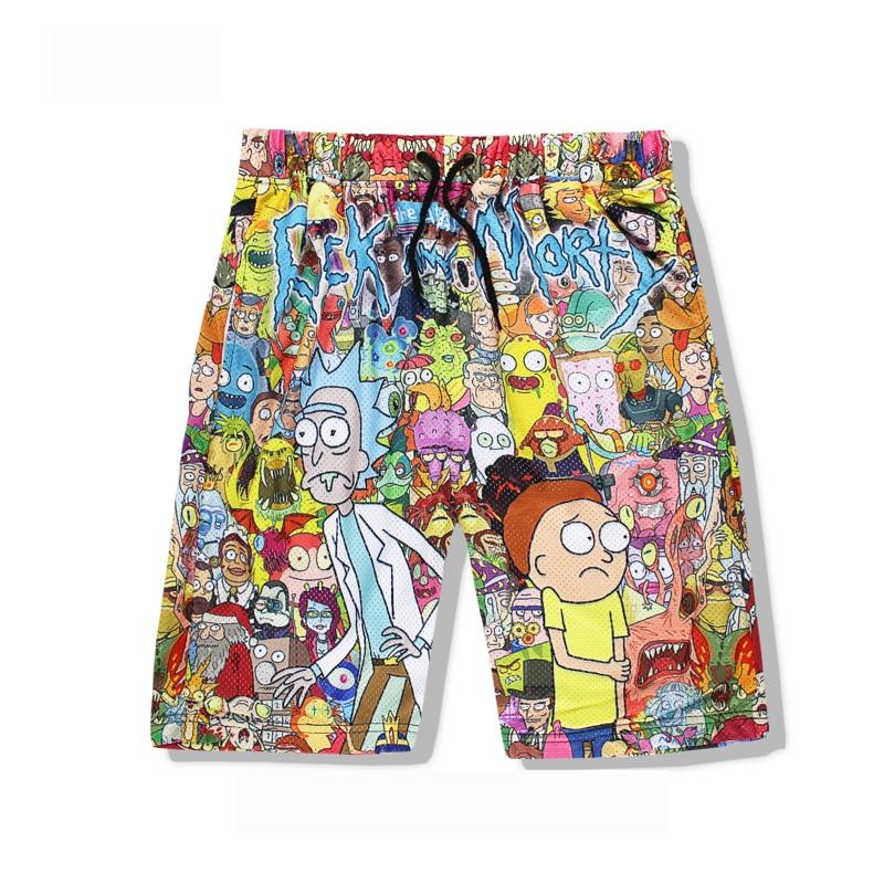 Rick and Morty Men's Summer Casual   Shorts   Cartoon 3D Print Loose Beach   Shorts