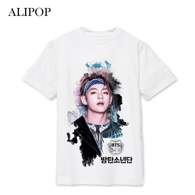 ALIPOP Kpop BTS Bangtan Boys WINGS SUGA V Album Live Print Loose Shirts Hip Hop Tshirt T Shirt Short Sleeve Tops T-shirt DX494