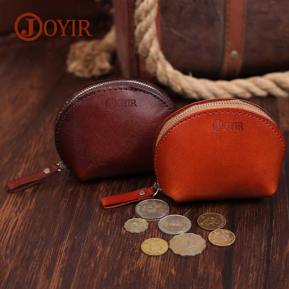 JOYIR Coin Bolsas de Couro Genuíno das Mulheres Carteiras Chave do Bolso Sacos de Dinheiro Pequeno Shell Titular Mini Bolsa Com Zíper Carteira Feminina