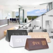 Wood LED Alarm Clocks Craft Electronic Table Clock Sound Control Clock Thermometer Timer Calendar Display Home Decor