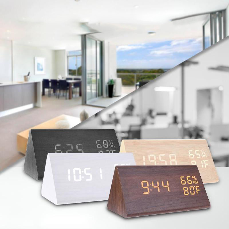 Wood LED Alarm Clocks Electronic Table Clock Sound Control Digital Clock Thermometer Timer Calendar Display Home Decor image