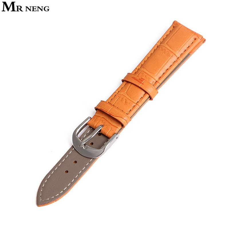 MR NENG leather watchband 22 20 18 16 14 12mm men high-quality soft waterproof strap Orange watch band bracelets straps watch genuine leather watchband for tissot t41 le locle top quality men watch straps 20 22 24mm soft leather bracelets male watch band