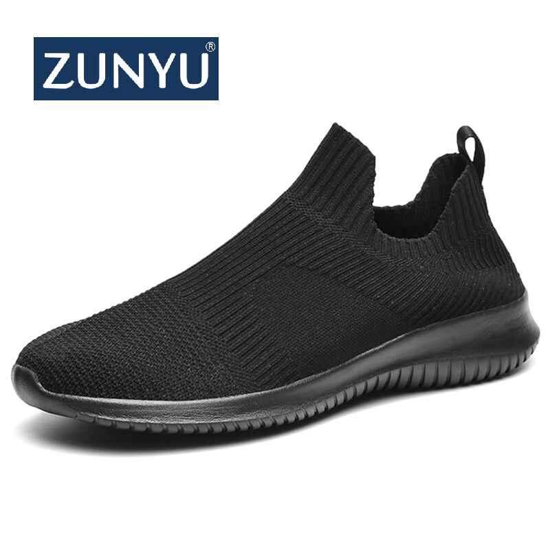 ZUNYU جديد المنسوجة الرجال حذاء كاجوال تنفس الذكور أحذية تنيس Masculino أحذية Zapatos Hombre sapلاتوس في الهواء الطلق أحذية رياضية الرجال