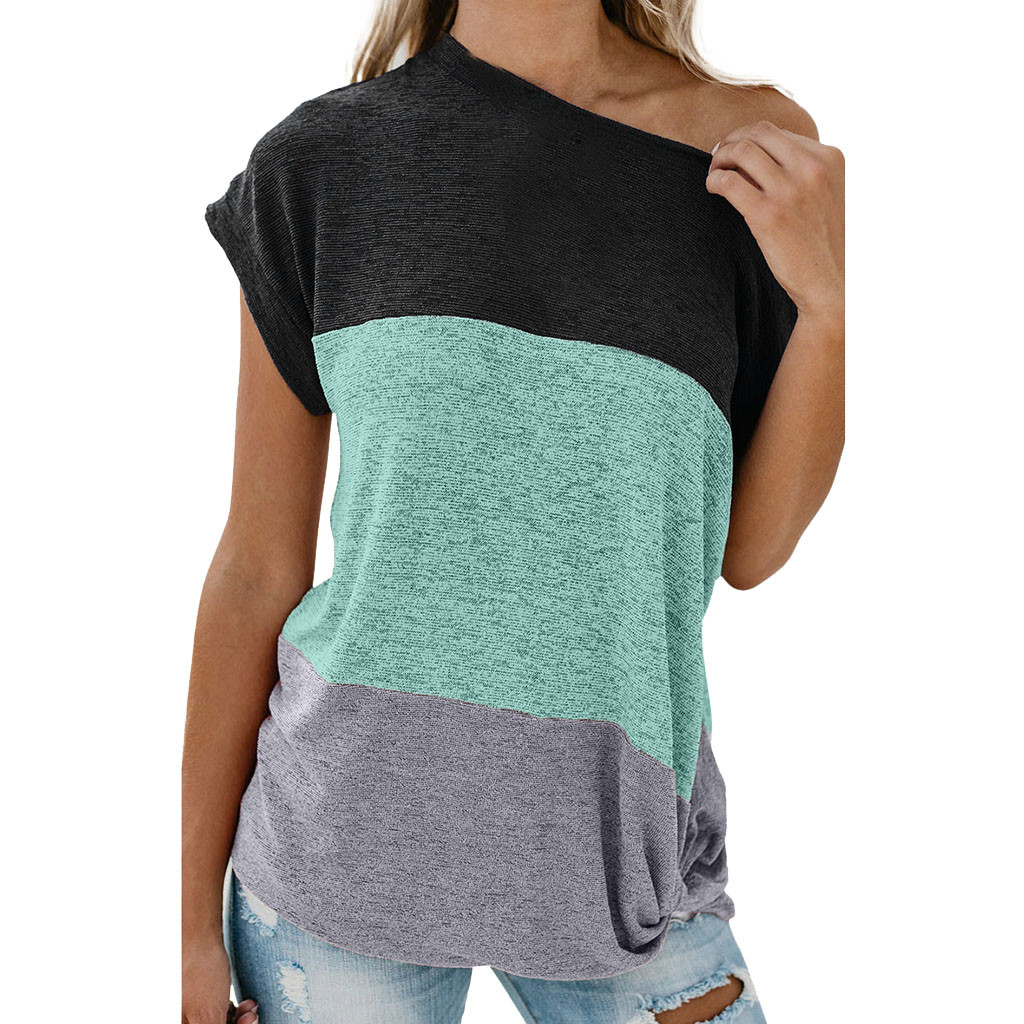 Summer Fashion Knot Off-Shoulder   Blouse   Casual Ladies Loose Color Block Tee Tops Female Women Short Sleeve   Shirt   Blusas Pullover