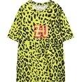 2016 nuevas mujeres t-shirt gráfico estampado de leopardo de manga corta HARAJUKU tee top para mujer de las señoras camiseta floja elegante amarillo T camisa