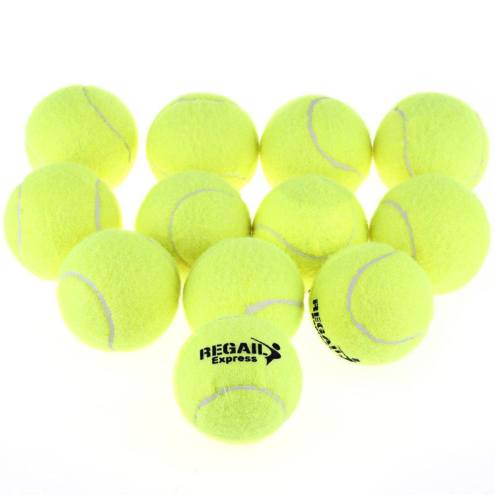 High Elasticity 12pcs/set Training Tennis Ball Durable Natural Rubber Tennis Ball Wear Resistant Yellow Tennis Ball Bag Package