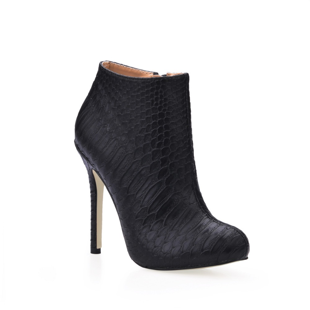 big size 35-43 sexy fashion stiletto high heels ankle boots black serpentine zipper high heeled women shoes spring autumn pumps winter autumn high quality pu high heels women sexy v mouth high top high heeled shoes ladies stiletto pumps ankle boots woman