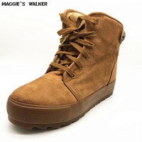 Maggie S Walker Women Fashion Flock Ankle Boots Women Winter Warm Platform Plush Lacing Boots Size