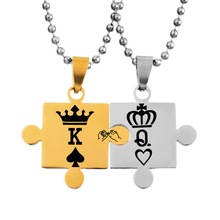 LASPERAL 1Set Neckalces With jigsaw Pattern Pendant Carved Crowns Stainless Steel Love Necklaces Jewelry For Couples Customized