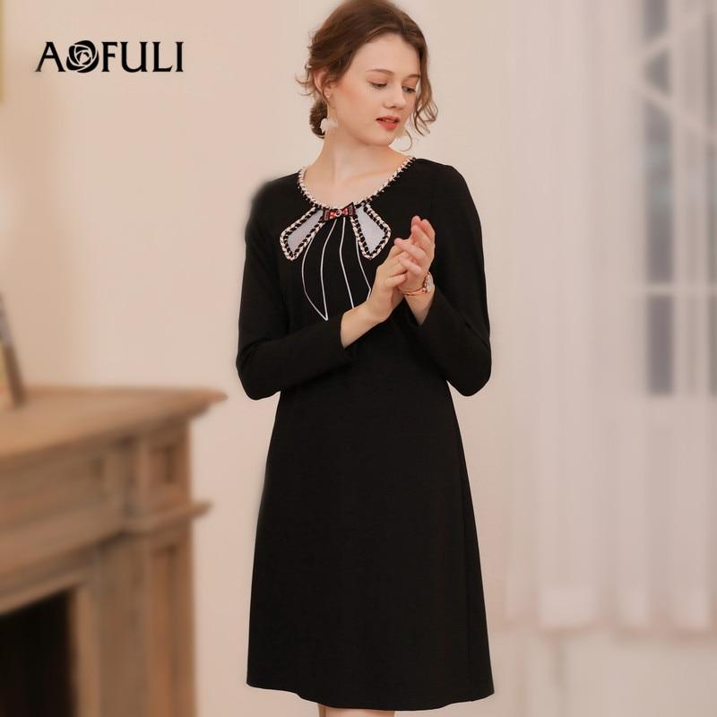 US $44.45 30% OFF|AOFULI L 3XL 4XL 5XL Plus size Dress Autum Winter 2018  Women Long sleeve Bow tie Appliques Office Ladies Black Dresses-in Dresses  ...
