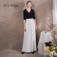 Это Yiiya черный и белый Половина рукава длиной до пола Длина Платья для вечеринок Элегантный комбинезон Формальное брюки костюм вечернее Брю