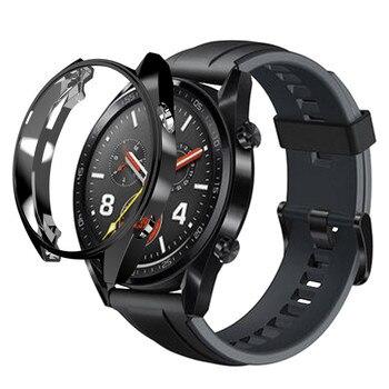 Funda protectora delgada de TPU + chapado de lujo para Huawei Watch GT, marco de silicona dura, Funda Flexible para Huawei GT Watch, carcasa, carcasa