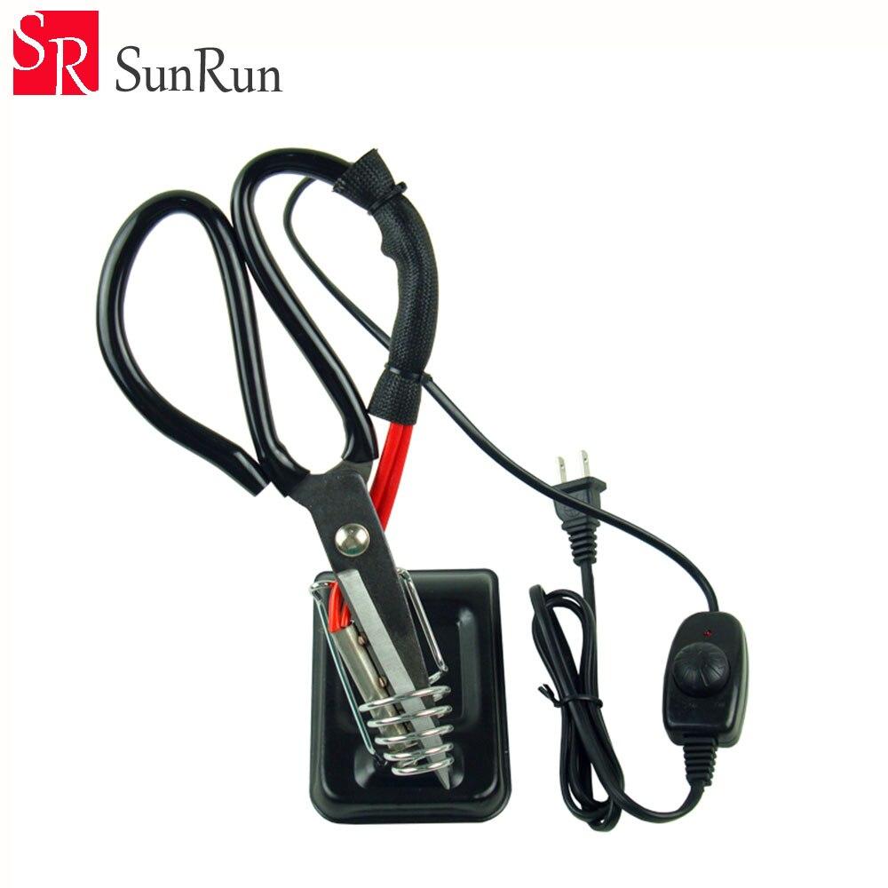 Регулируемый контроль температуры Электрический нагревающие ножницы Портной ткани тепловой резак Вырезать ленты инструменты