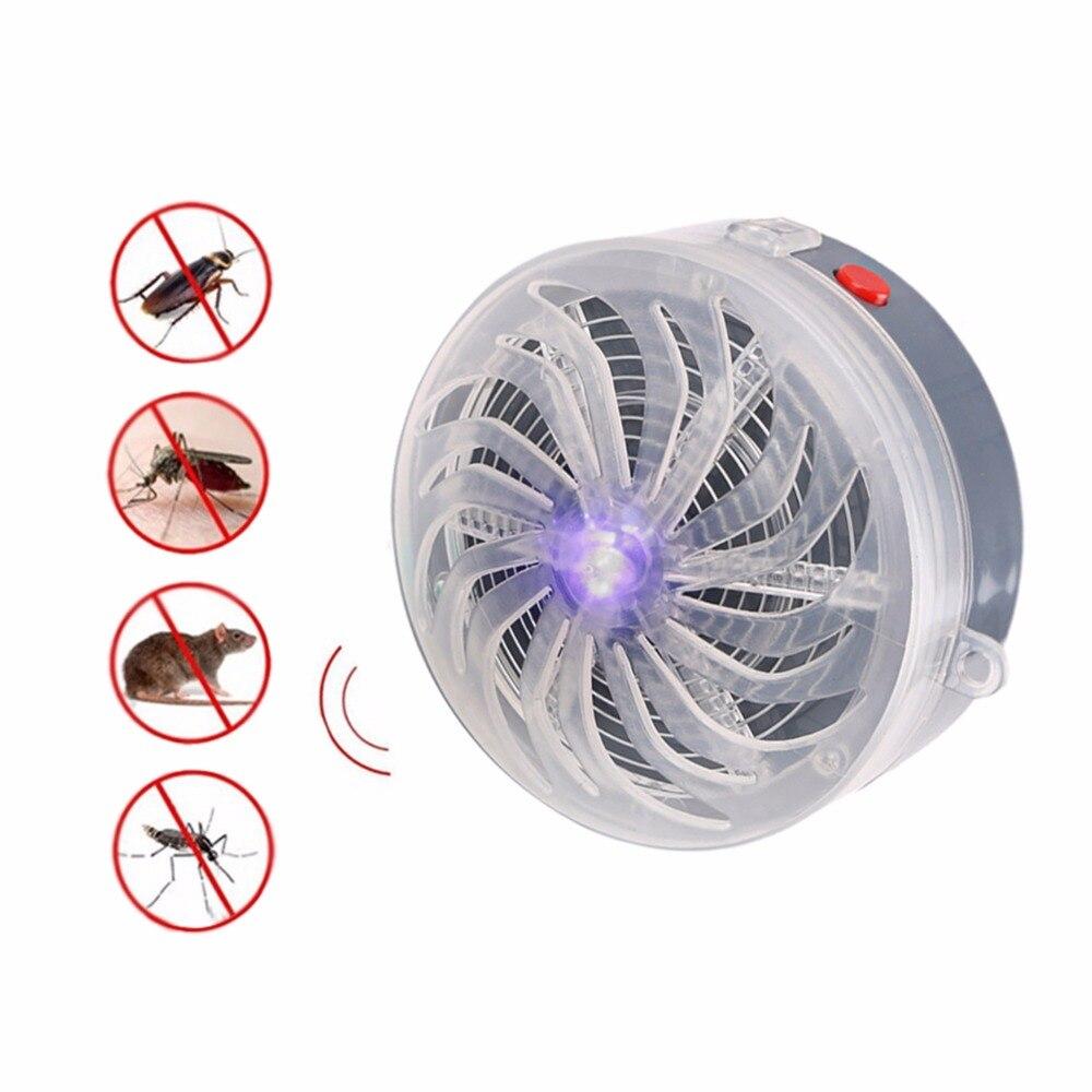 Solar Powered lámpara del asesino del Mosquito del zumbido lámpara UV Anti Mosquito repelente Bug Zapper matamoscas insectos para su uso en casa habitación