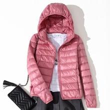 2019 Winter Jacket Women Ultra Light Down Hooded Coat 90% Duck Packable Thin Feather Short Parka D183