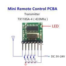 433 МГц мини беспроводной Радиочастотный пульт дистанционного управления 1527 EV1527 обучающий код 433 МГц передатчик для ворот гаража дверь Сигнализация светильник управление Лер