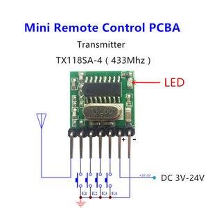 Image 1 - 433 mhz mini controle remoto sem fio rf 1527 ev1527 código de aprendizagem 433 mhz transmissor para portão garagem porta alarme luz controlador