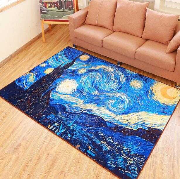 Stars Abstract Art Painting Flannel Mats Anti Slip Carpet Floor Mat