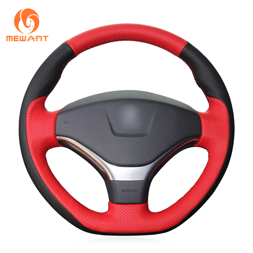 MEWANT Black Red Genuine Leather Car Steering Wheel Cover for Peugeot 308 2012-2014 runba breathable leather steering wheel cover sets black white red
