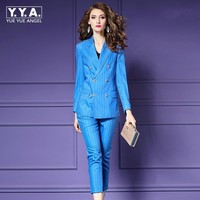 Синий Полосатый офисные костюмы для Для женщин куртка и брюки Праздничная одежда пиджак и брюки набор 2 шт. костюм Femme Весте Pantalon