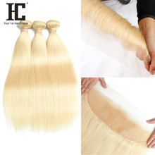 HC Honey Blonde 3 Bundles With Lace Frontal Closure Brazilian Hair Weave Remy Human Hair 613 Bundles With Ear To Ear Frontal(China)