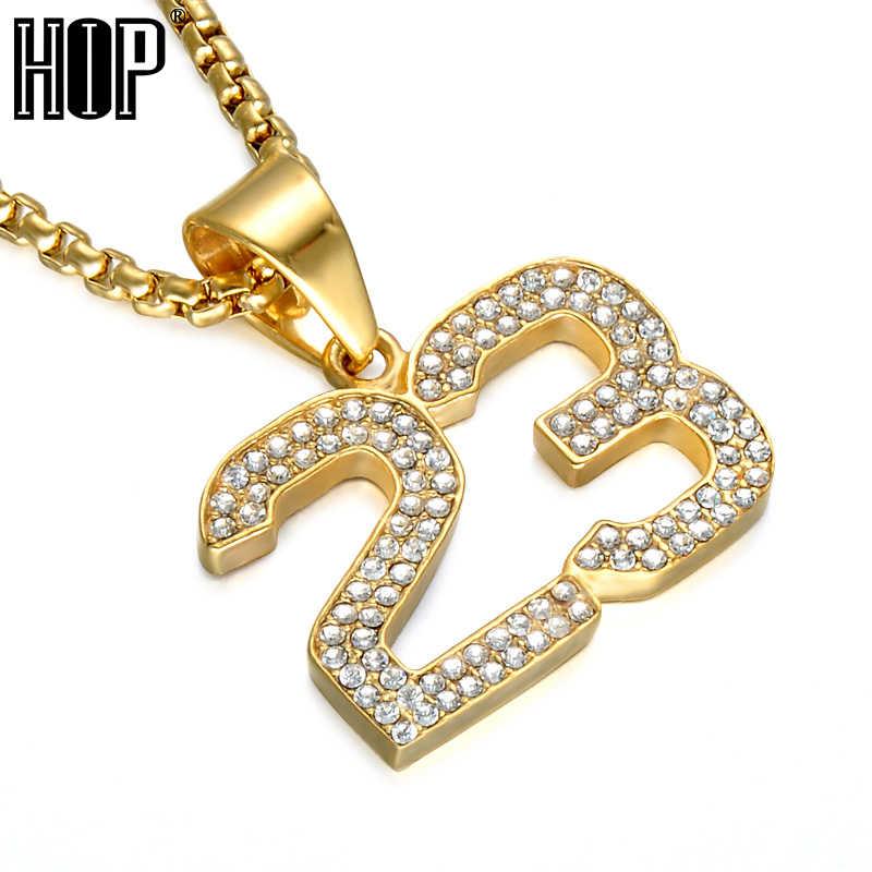 070d39f593cab HIP Hop Basketball Legend Number 23 Necklaces & Pendants Gold Color ...