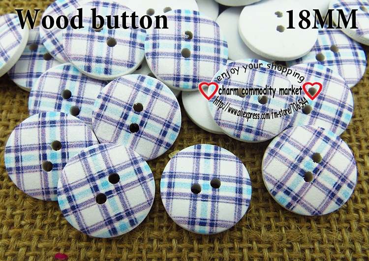 100PCS 18MM Grid purple wooden buttons sewing clothes boots coat accessories MCB-730