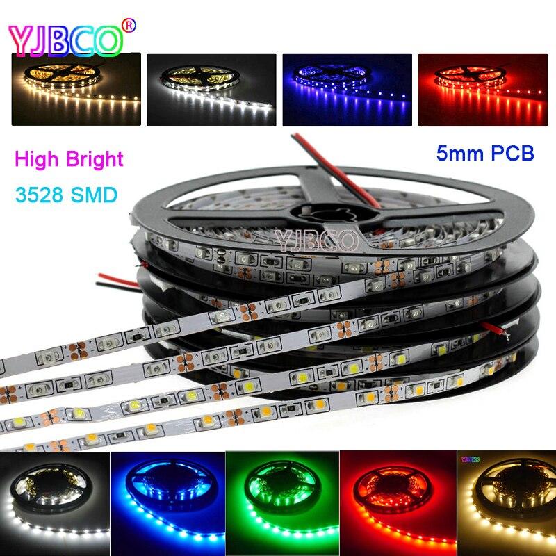 5M 3528 Narrow Side 5mm PCB White/Warm White/Blue/Red/Green High Brightness 300leds/600leds IP30/67 led strip tape light