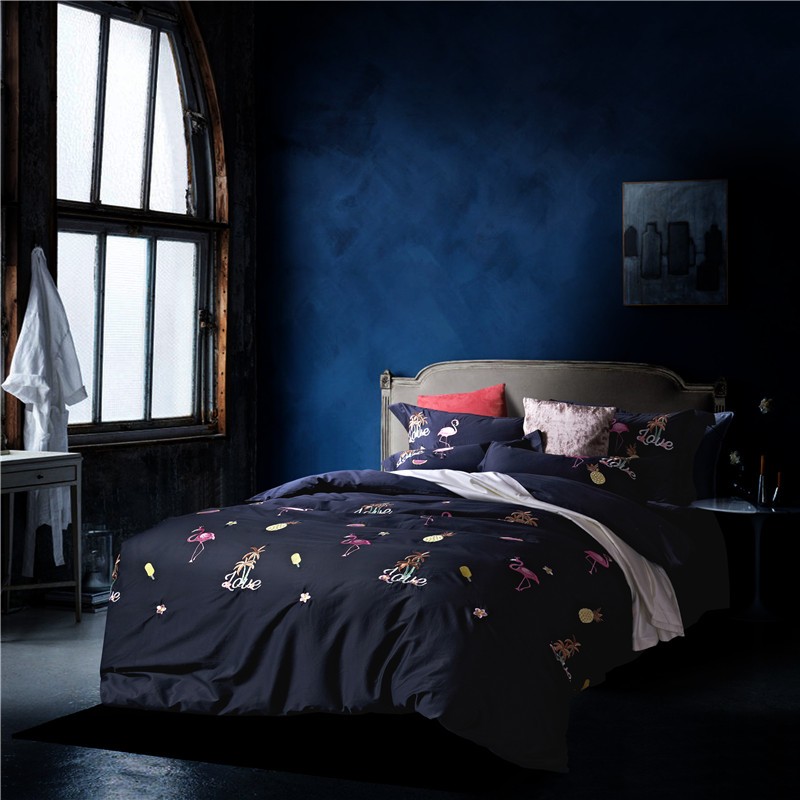 Luxury 100% cotton bedding set black red yellow satin Embroidery duvet cover sets Flamingo pattern bed linen bedclothes