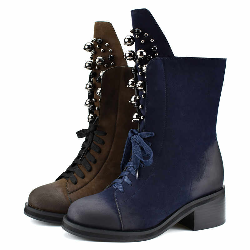 Odetina Mode Marke Winter Mitte Wade Stiefel Frauen Runde Kappe Platz High Heel Russland Schnee Stiefel Lace Up String Bead warme Schuhe