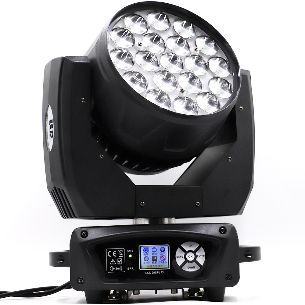 Hot Sale New CTO Function Led Zoom Wash 19x 15w Moving Head Light With Advanced Dmx Program Stage Lighting Equipment Bar Club