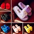 2017 Новый Зимний Дети Тапочки Девушки Парни Теплые Мягкие Плюшевые Противоскользящие Домашние Дети Тапочки Обувь Pantoufle Enfant Семьи установлены