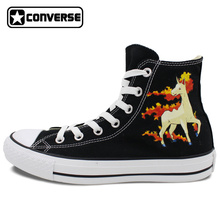 Girls Boys Converse All Star Men Women Shoes Pokemon Rapidash Horse Hand Painted Shoes High Top Black Sneakers Christmas Gifts