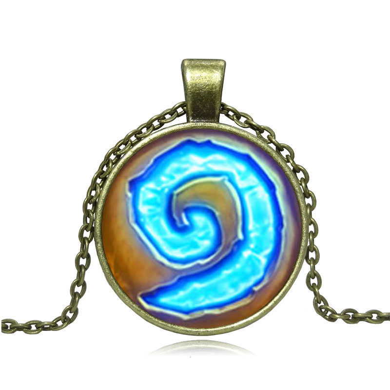 WoW World of Warcraft Hearthstone Glass Round Pendant Necklace Women Jewelry Ancient bronze Link Chain Necklace Gift
