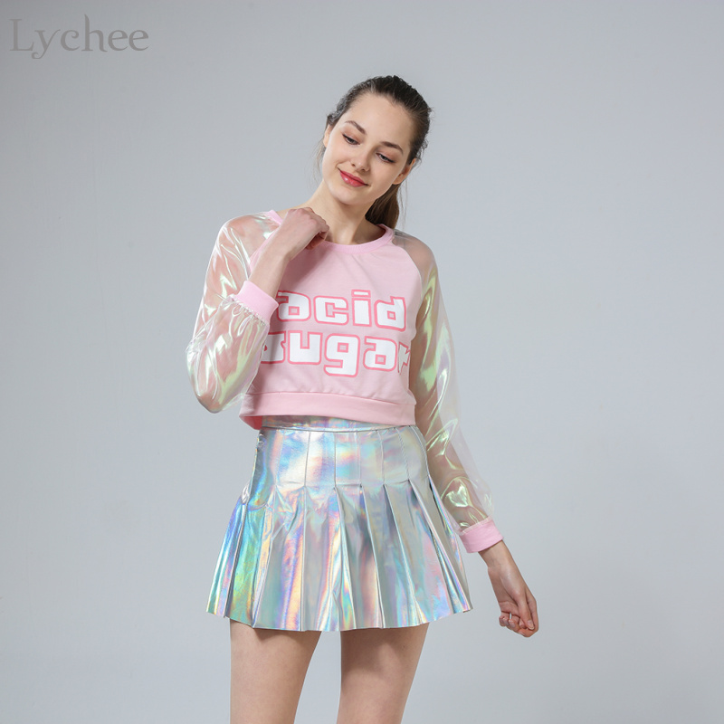Lychee Spring Autumn Harajuku Japanese Style Women T-shirt Laser Transparent Long Sleeve Patchwork Crop Top