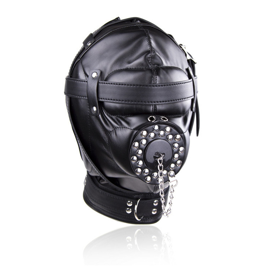 Buy Leather Full Head Harness Fetish Mask Bondage Hood Sexy Slave Headgear Open Mouth Gag Plug Cover Couple Sex Restraint Toy