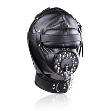Leather Full Head Harness Fetish Mask Bondage Hood Sexy Slave Headgear With Open Mouth Gag Plug Cover Couple Sex Restraint Toy цены
