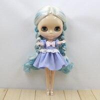 Niebieskie i Białe Długie Proste Włosy Nude Blyth Neo Doll Lalki Na Sprzedaż