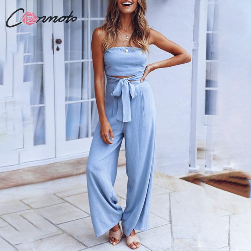 Conmoto Tube Top High Waist Jumpsuit Women 2019 Autumn Winter Hollow Out  Wide Leg Long Rompers Female Fashion Lace Up Plus Size