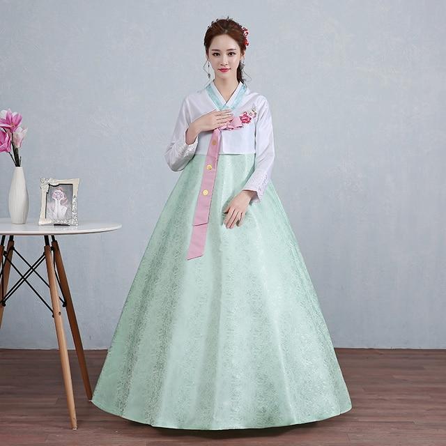 281fbad1bb Tradycyjne Koreański Hanbok Tradycyjne Ubrania Sukienki damskie Sukienki  Kostiumy Azji Odzież Suknie Wieczorowe Singer Kostium