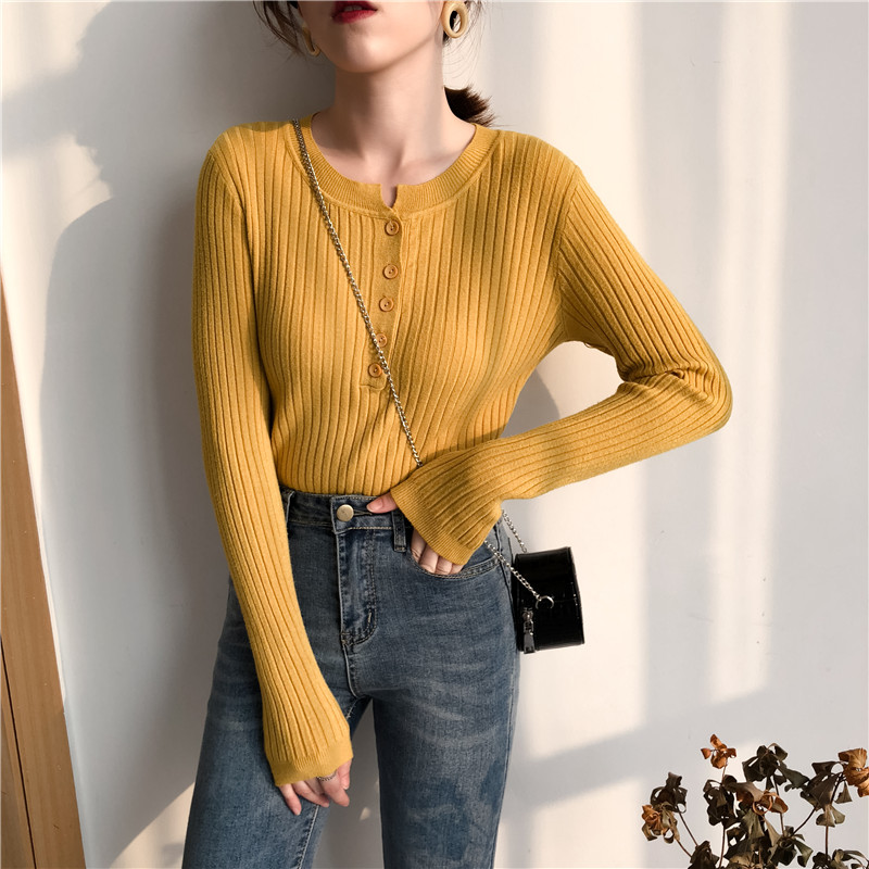 Colorfaith Women Pullovers Sweater New 19 Knitted Autumn Winter Spring Fashion Sexy Elegant Buttons Casual Ladies Tops SW9065 11