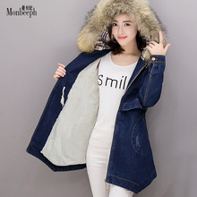 2017 New Women Winter Outerwear Plus Velvet Hooded Denim Jacket Causal Jeans Female Cotton Down Parkas Fox fur neck