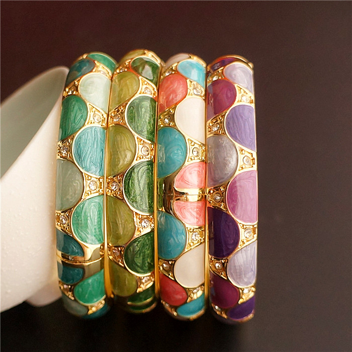 Unique Chinese Cloisonne Ethnic Bangle Bracelets Enamel Womens Accessories Rhinestones Jewelry