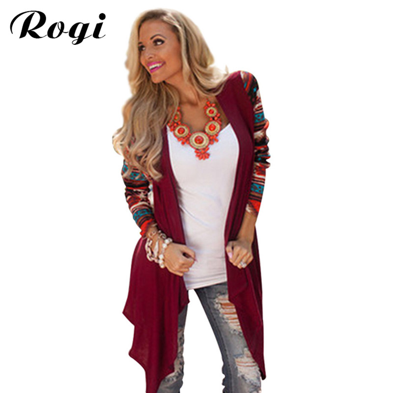 Rogi Cardigan Women Sweater 2017 Fashion Aztec Long Sleeve Stripe Tops Casual Long Cardigans Air Conditioning Asymmetrical Shirt