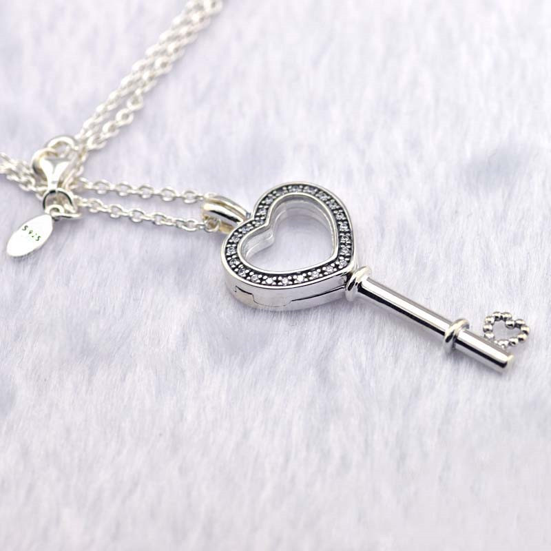 Clear CZ Heart Key Locket Silver Necklaces for Women Fashion Silver 925 Jewelry DIY Floating Glass Locket Necklaces & Pendants