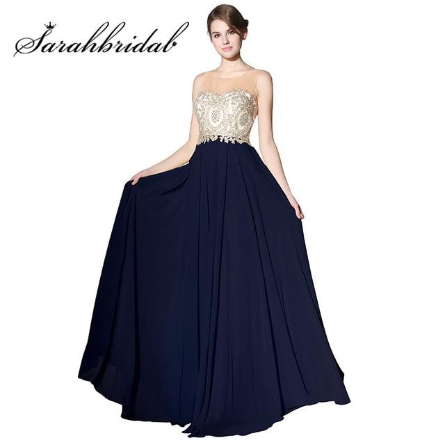Cheap Long Prom Dresses Sheer Neck Navy Blue Chiffon A Line ...