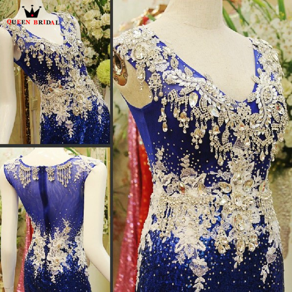 Custom Made Mermaid Blue Sequin Crystal Beaded Luxury Sexy Evening Dresses 2019 New Real Photo Prom Party Dress Gowns JO10M