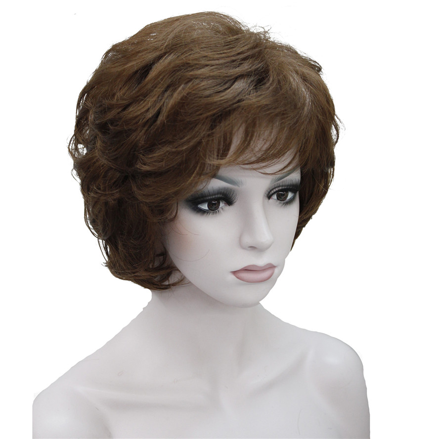 StrongBeauty Women's Wigs Black/Brown Natural Short Curly Hair Synthetic Full Wig 18 Color